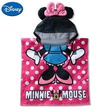Disney 100% cotton cartoon Minnie Mickey childrens hooded towel cloak absorbent bathrobe bath 120x60cm