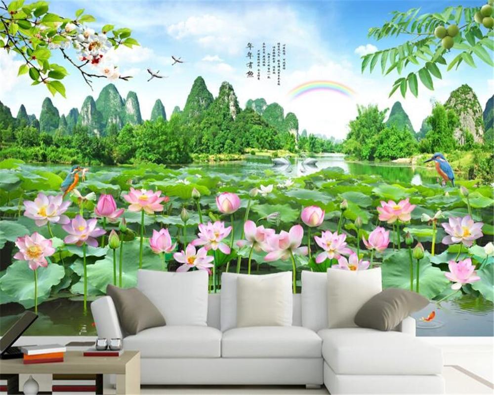 US $8 85 OFF Beibehang Indah Telaga Lotus Bunga Wallpaper Pemandangan Wallpaper Kamar Tidur Ruang Tamu Latar Belakang Dekoratif Lukisan Dinding