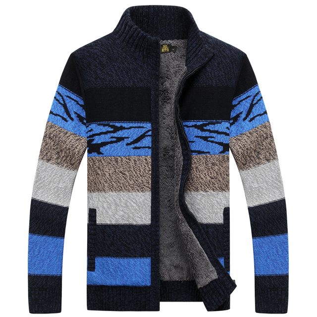 NIANJEEP Brand Clothing Cardigan 2016 Winter Sweater Men Pattern Striped Zipper Thicken Fleece Coat agasalho masculino A3353