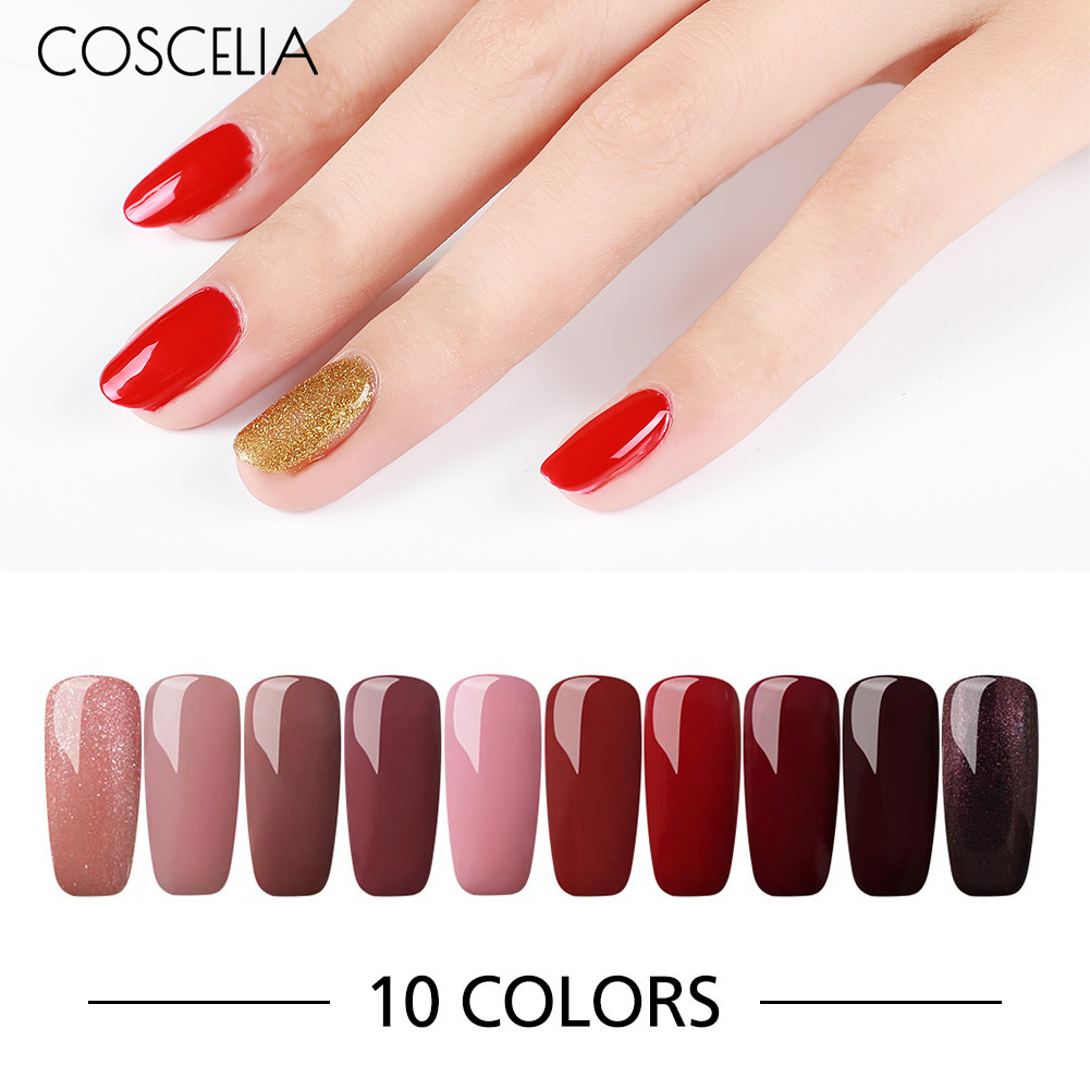 COSCELIA 6/10 Pcs 8ML Solid Color Gel Nail Polish Long-Lasting Gel Varnish Soak Off Gel Nail Set & Kits For Nails