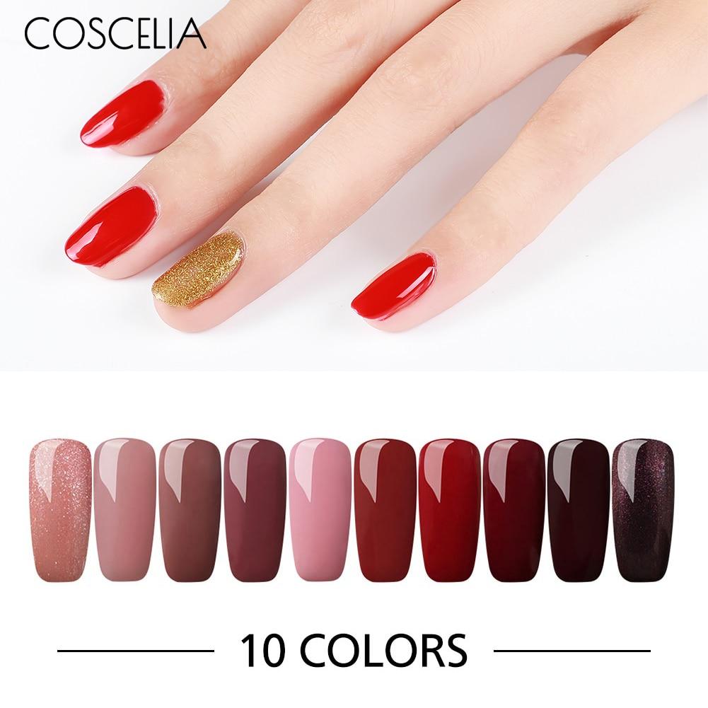 COSCELIA 6/10 Pcs 8ML Solid Color Gel Nail Polish Long-Lasting Gel Varnish Soak Off Gel Nail Set & Kits For Nails