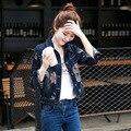 2016 Осенью Новый Случайный Дикий Короткими рукавами Цветочный Печати Тонкий однобортный Короткие Джинсовые Куртки AXD1724