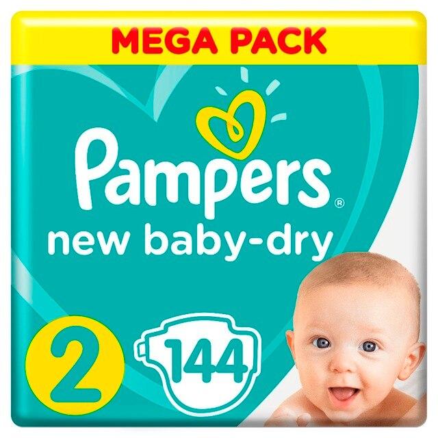 Подгузники Pampers New Baby-Dry 4–8 кг, размер 2, 144 шт.