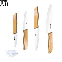 Sharp Bamboo Handle White Blade Ceramic Knife Set 6, 5, 4, 3 Inch Chef Slicing Utility Paring High End Kitchen Knives XYJ Brand