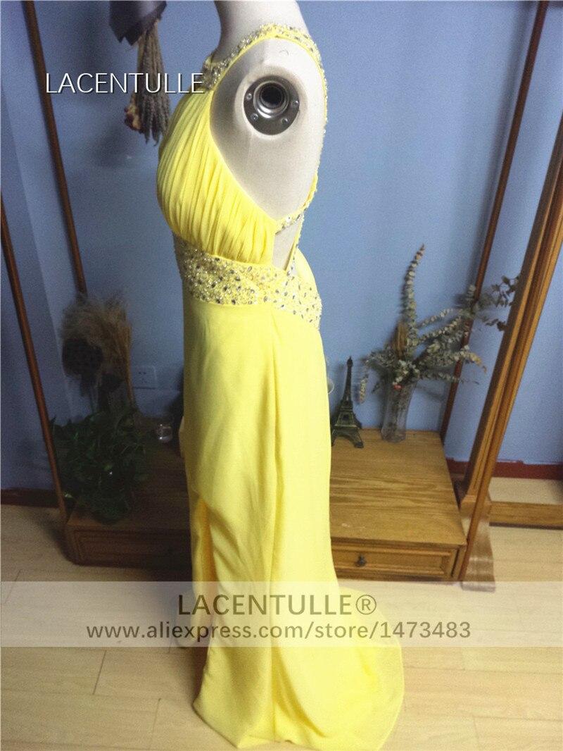 Long Yellow Chiffon Bridesmaid Dress Floor Length Formal Occasion Dress (3)