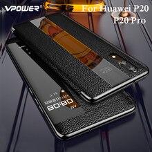 עבור huawei P20 פרו אמיתי עור מקרה huawei p20 טלפון הגנה היברידי windows צפה אמיתי עור מקרה כיסוי p20 חכם מקרי
