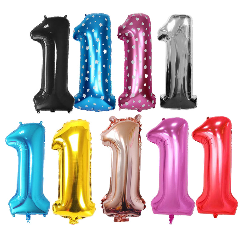 40 Inch Number Balloons Rose Gold Large Digit 1 Helium Foil Balloons for Wedding Birthday Party Decorations Supplies Baby Shower