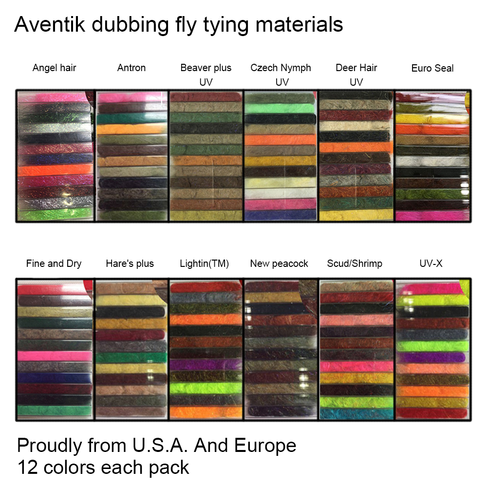 Aventik U.S.A Europe Fly Dubbing 12 Kinds Dubbing Fly Tying Materials 12 colors Dry Flies Scud Dubbing Fly Fishing Quality New