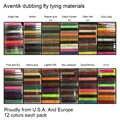 Aventik usa Europa Fly doblaje 12 tipos de doblaje de moscas materiales de amarre 12 colores moscas secas Scud doblaje de mosca pesca de calidad nuevo