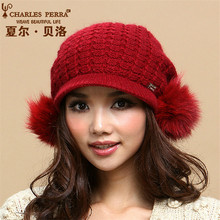 Charles Perra Women Winter Hats Thermal Double Layer Warm Wool Knitted Hat Fox Hair Ball Casual Fashion Elegant Beanies 3052