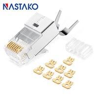 NASTAKO 100 шт. Cat7 RJ45 Разъем Cat 7 Кристалл коннекторы экранированные FTP RJ45 модульная Вилки 1,5 мм сети Ethernet Кабель