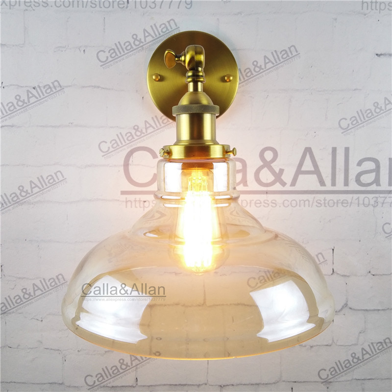 Free shipping half globe clear glass shade wall lamp up and down bedroom sconce E27 AC110V/220V edison brass wall light antique johnson f61kb 11c stainless steel target type flow switch flow switch flow controller 1 inch outside the wire