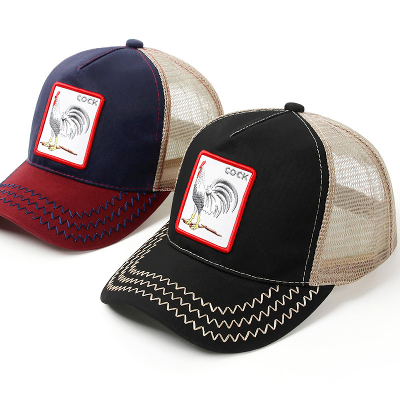 LONSUNNOR Black Snapback Baseball Cap Men Women Animal Farm Trucker Cap Summer