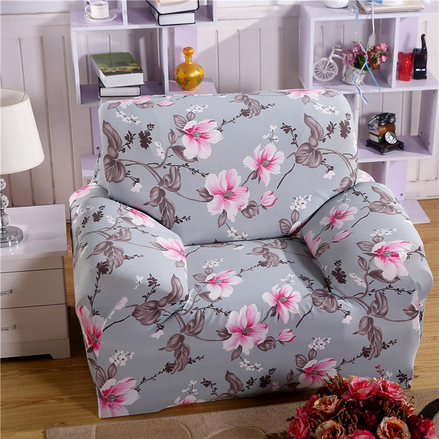 Printed Sofa Cover Grey Flower Couch Cover Elastic Funda Sofa Set Single  Seat Double Seat Cushion