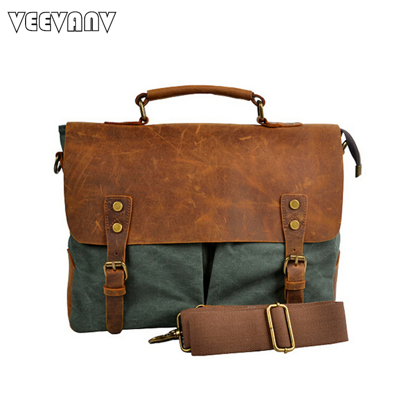 Vintage Briefcase Men Messenger Bags Fashion Male Single-shoulder Bag Men's Retro Canvas Travel Crossbody Bags Business Handbags canvas rivet single shoulder bags vintage fashion solid zipper male crossbody bag luxury casual handbags men travel package