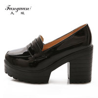 Fanyuan 2018 Platform Shoes Women Retro Round Toe Ladies High Heels Shoes Concise Square Heel Party Dress Pumps Stiletto Black