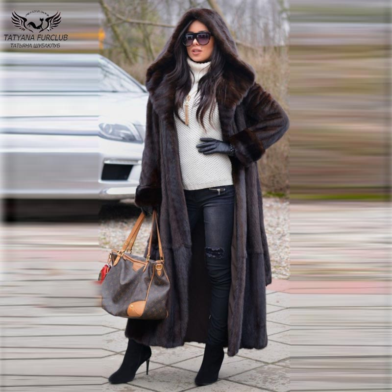 Tatyana X-Long Real Fur Mink Coat Women 120 CM Slim Coats With Belt Genuine Leather Fashion Overcoats winter