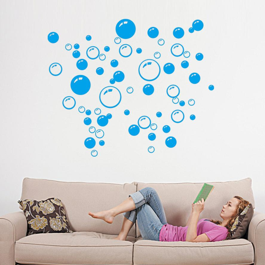 Bubbles Circle Removable Wall Wallpaper Bathroom Window Sticker Decal Home Blue for Walls or Window of Home Bathroom Office