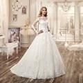 Vestido De Noiva 2016 vestido de Baile Vestidos de Noiva Vintage Lace Appliqued Manga Comprida Pavimento Comprimento Do Vestido de Casamento vestido de Noiva
