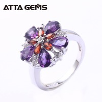 Natural Amethyst Sterling Silver Rings for Women Birthday Gifts 5 Carats Narural Amethyst Rings S925 Flower Design Romantic Ring
