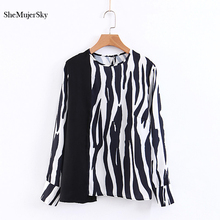 2aa5aee857 SheMujerSky Women Autumn Zebra Striped Shirt Spliced Blouses blusas mujer  Ladies Tops