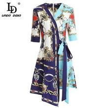 LD LINDA DELLA Fashion Spring Summer Dress Womens V-Neck Bow Tie Splice Elegant Vintage Ladies Vacation Asymmetrical Dresses