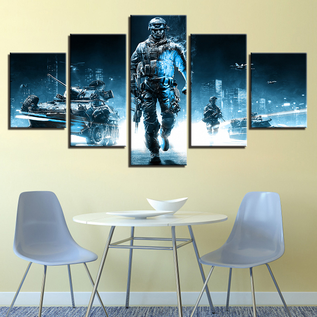 Home Decor HD Printed Canvas Painting 5 Pieces Game Battlefield 3 Theme Modular Posters Pictures For Living Room Wall Art Frames 2