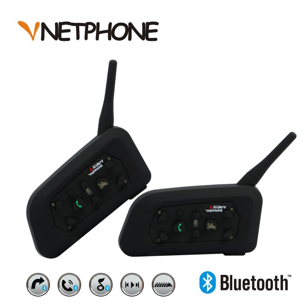 2017 New 2 X1200m Bluetooth Intercom Headset 6 Riders Handsfree V6 Waterproof Motorcycle Interphone Support Stereo Music/audio