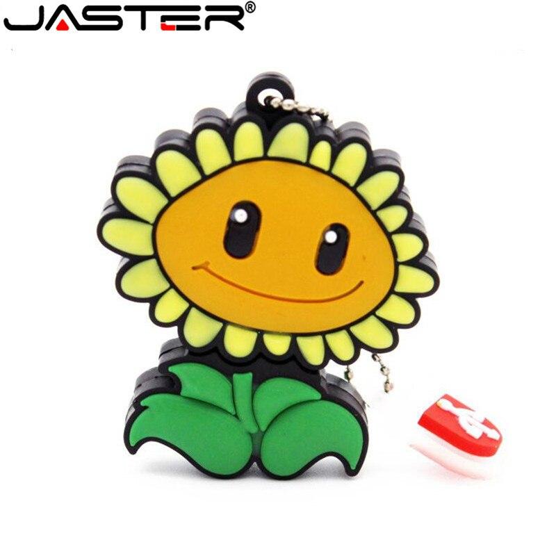 JASTER Fashion Hot Selling Creative U Disk 2.0 64GB 32GB 16GB 8GB 4GB Cartoon Real Capacity Sunflower USB Flash Drive