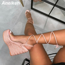 Aneikeh 2020 Novelty PVC Sandals Women Transparent Sexy Wedges High Heels Party