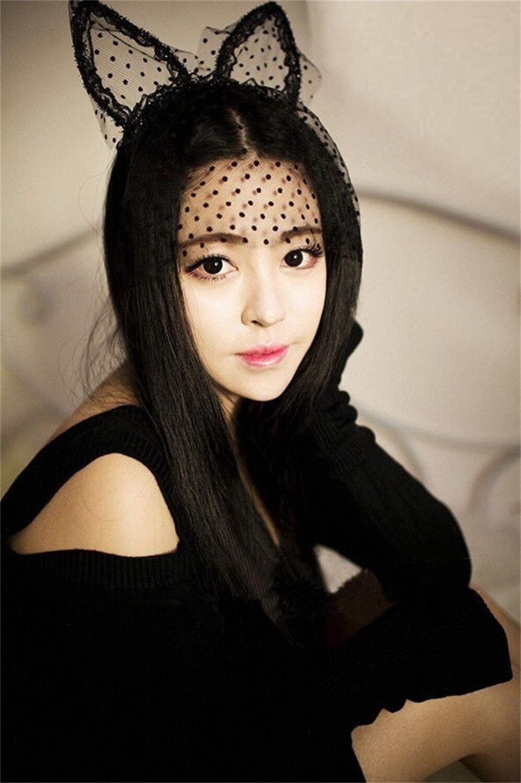 fashion women girl hair bands lace cute cat ears veil black eye mask halloween party headwear - Black Eye Mask Halloween