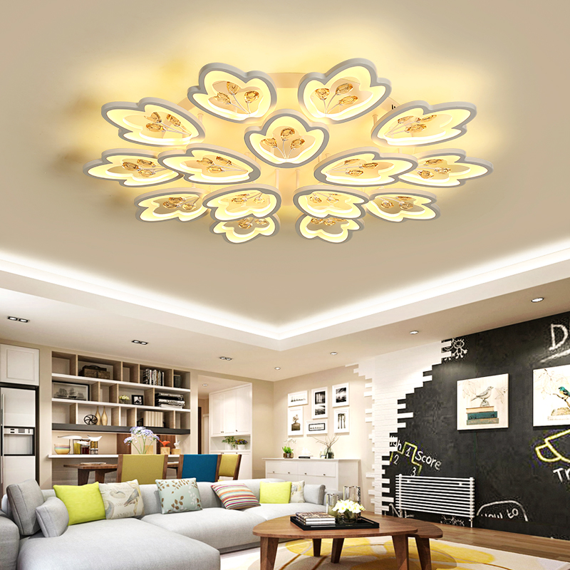 Living room lamp simple modern atmosphere household crystal LED ceiling lamp creative bedroom lamp warm romantic wedding room la modern simple three head lamp living room bedroom lamp warm romantic creative dining pendant lamp led