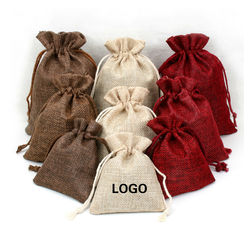 10PCS Jute Bag Vintage Burlap Sack Jewelry Packaging Pouch Custom Wedding Candy Party Gift Linen Packing Bags Wrapping Supplies