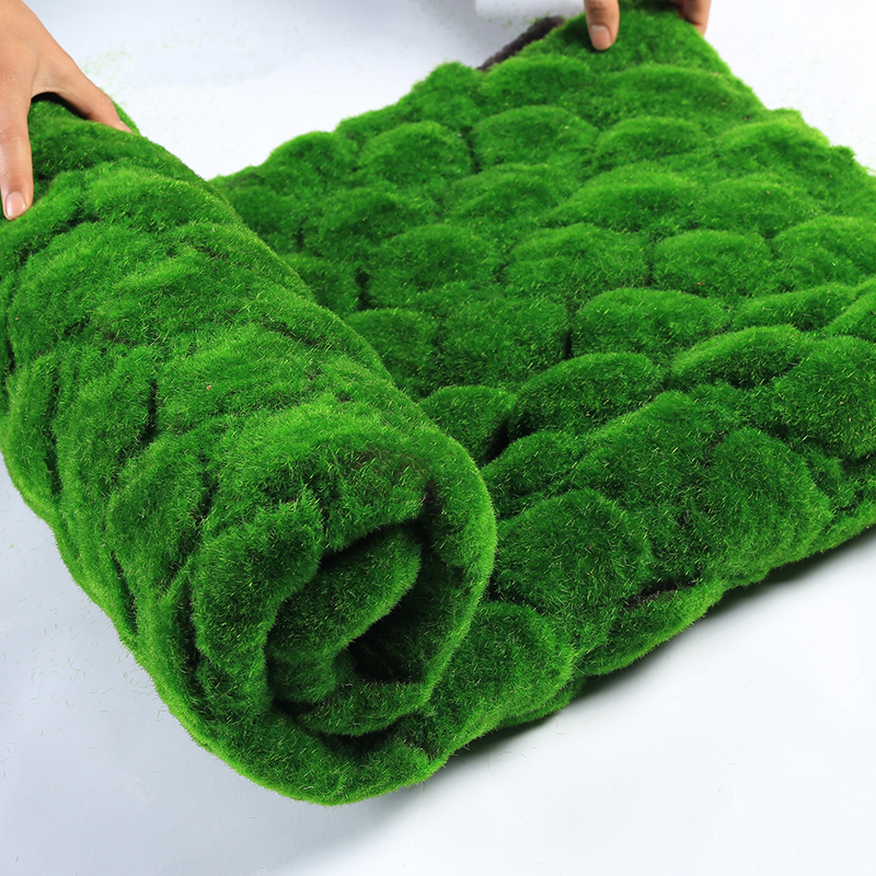 Image 2 - Erxiaobao 100*100 CM High Quality Polyester Artificial Moss Wall Simulation Fake Grass Lawn for Indoor Home Decoration-in Artificial Plants from Home & Garden