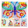 296pcs  3D Kids Mosaic Mushroom Nails Plug Beads Puzzles Assembled IQ Toy