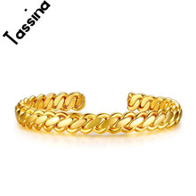 Tassina New Arrivals Gold Color Punk Open Bracelets & Bangles For Women Men Gift Fashion Stainless Steel Jewelry JSF-B203
