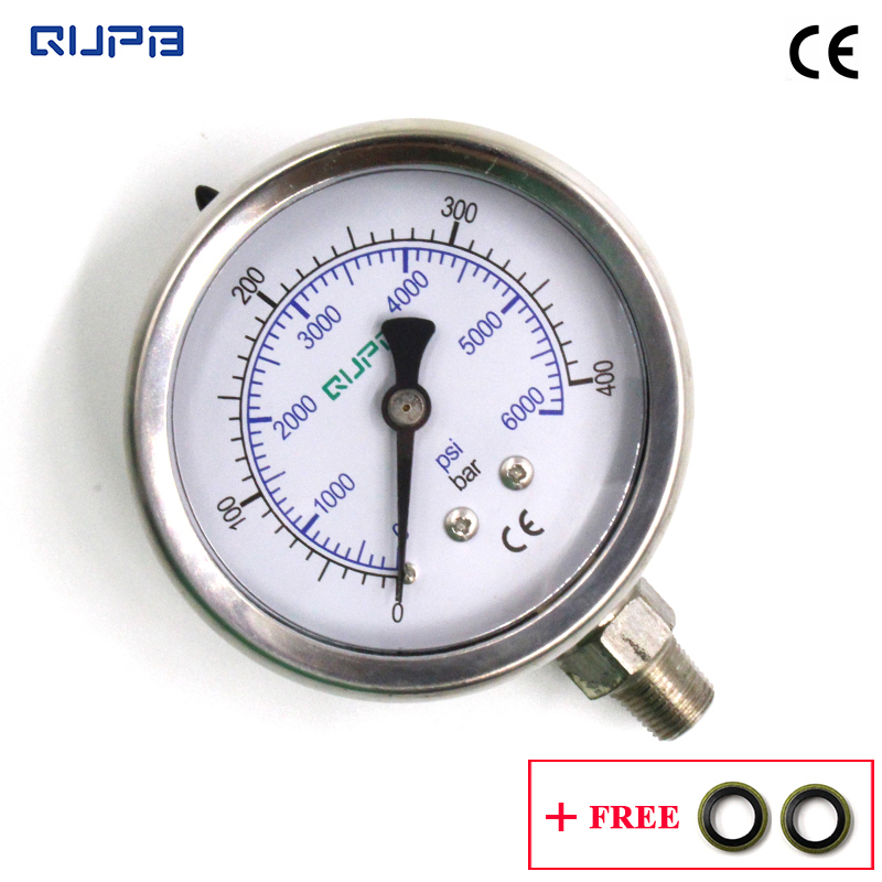 QUPB 63MM PCP Paintball 400bar High Pressure Gauges Liquid Filled Diving Pressure Gauge Stainless Steel Case 1/8NPT GEL001