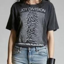 Kuakuayu HJN Vintage moda de los años 80 Post Punk banda alegría Division Unknown Pleasure Unisex camiseta Casual negro