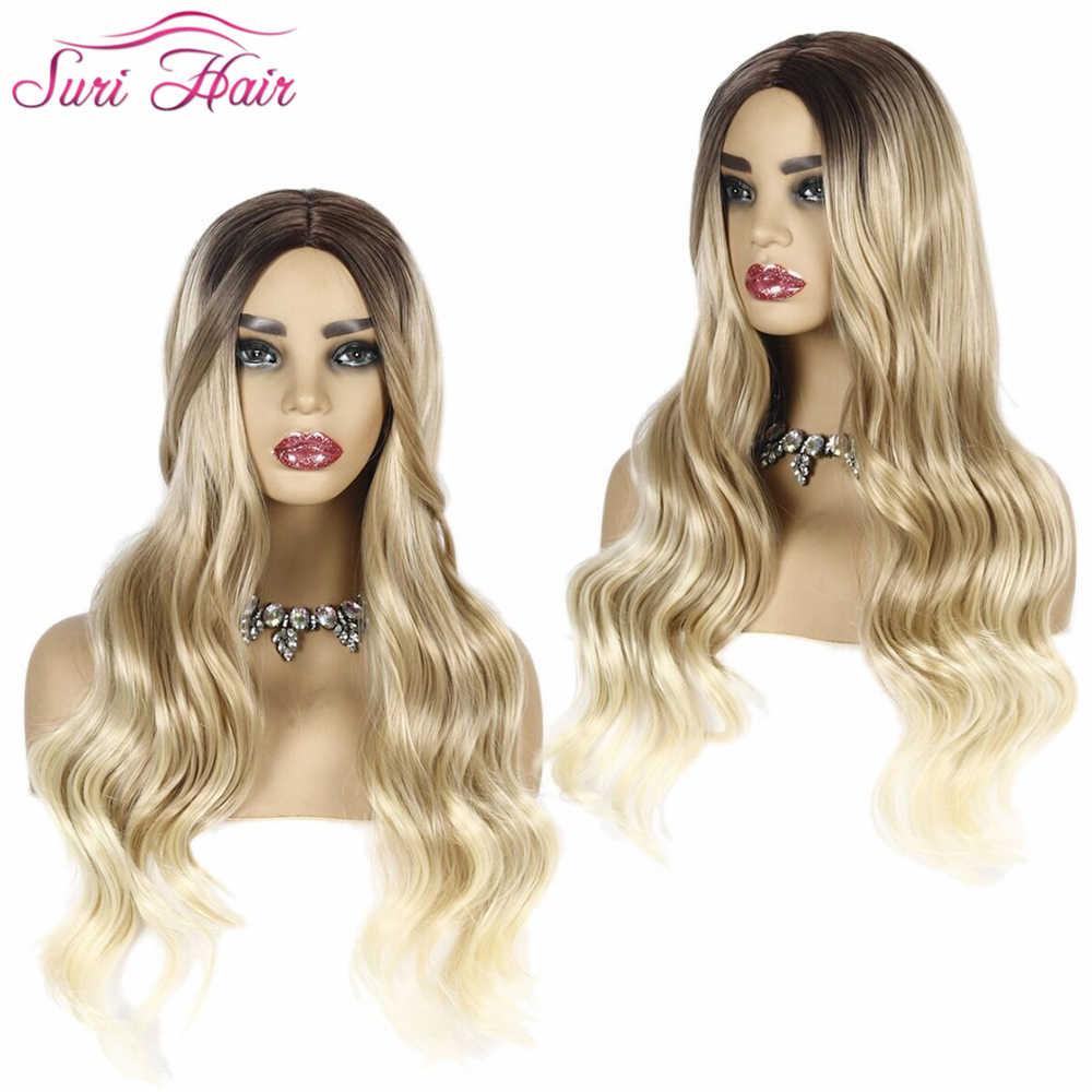 Suri Saç 28 ''Ombre Peruk Kahverengi Kül Sarışın % 130% Yoğunluk Isıya Dayanıklı Sentetik peruk vücut Dalga Peruk siyah Kadınlar için Brezilyalı