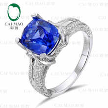 CaiMao 18KT/750 White Gold 2.65 ct Natural IF Blue Tanzanite AAA 0.89 ct Full Cut Diamond Engagement Gemstone Ring Jewelry
