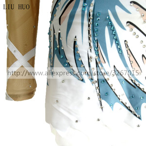 Image 3 - Women rhythmic gymnastics leotards for girls performance suit Artistic gymnastics dress Long sleeve Blue white stripes Kids