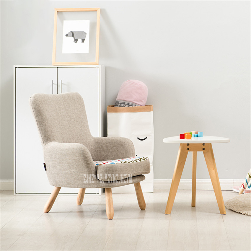 HLM-4054 Living Room Children Single Sofa Chair Balcony Bedroom Rubber Wood Foot Sofa Removable Washable Upholstered Armchair