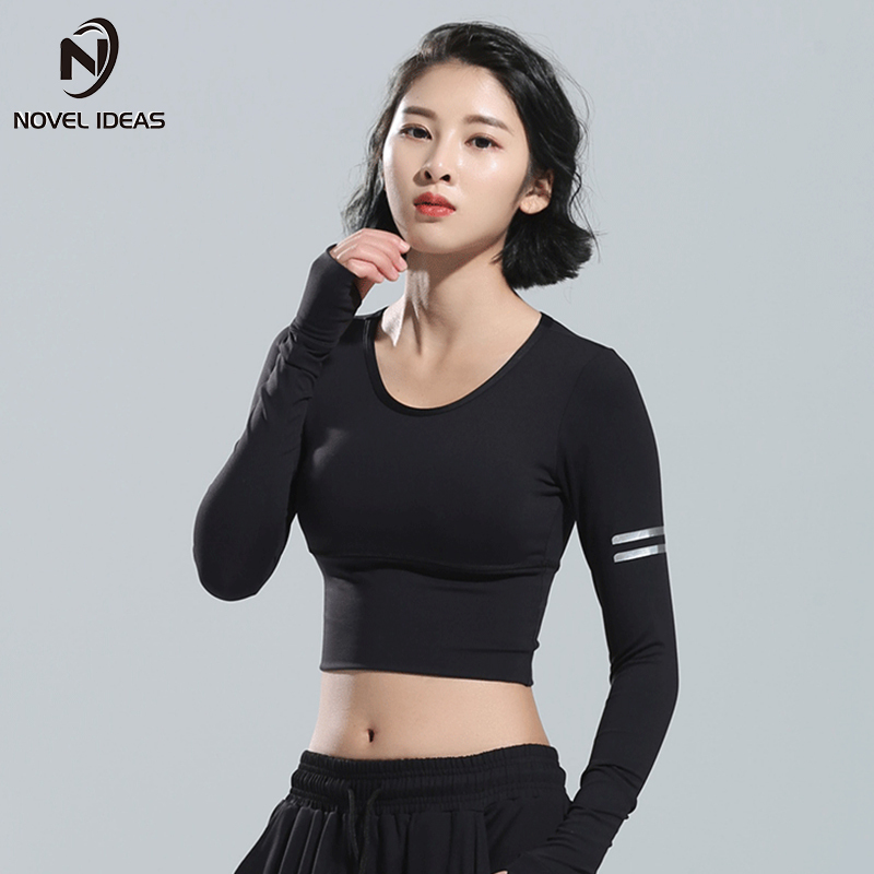 Ladies Sports Fitness Long Sleeve T-Shirt Sexy Mesh Breathable Yoga Shirts Black Gym Running Base Layer Crop Top Women