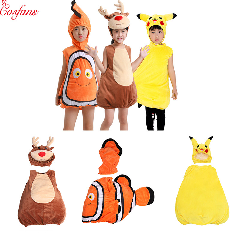 Finding Nemo Cosplay Costume Elk Pikachu Clownfish kid's Costume From Pixar Animated Film Finding Baby Fishy Halloween Costume