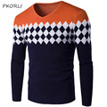 2016 Fashion V Neck Sweater Men Pullover Knitted Patchwork Mens Sweaters Stylish Long Sleeve Jumper Thin Male Sweater Knitwear