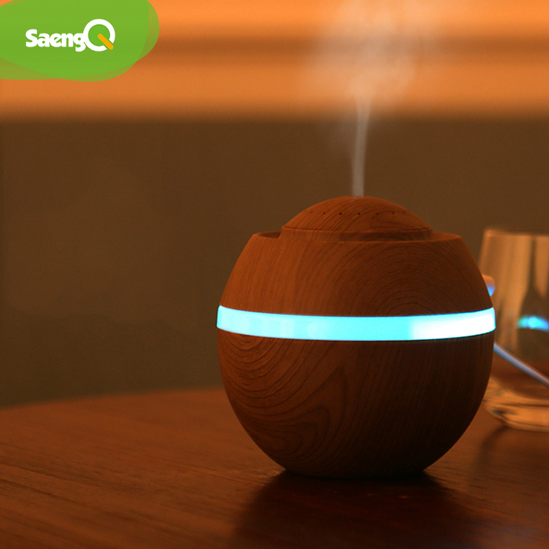 SaengQ Aroma Essential Oil Diffuser Mini USB Air Humidifier Portable Ultrasonic Mist Humidifier Air Purifier LED Night Light