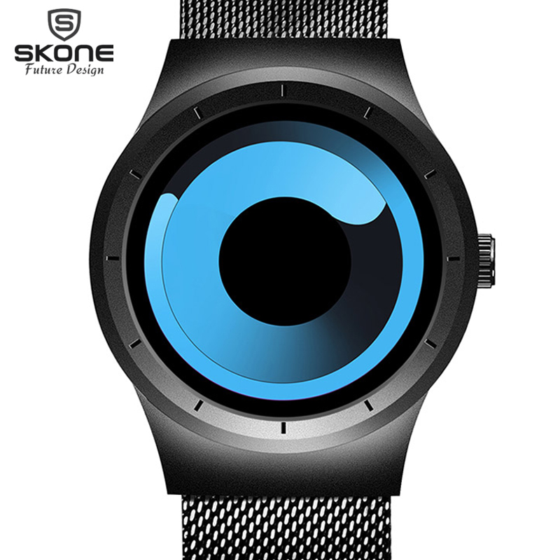 relojes femeninos SKONE Future Creative Fashion Men Women Watches Full Steel Unique Gradient Rotary Dial Watch Relogio Masculino skone relogio 9385