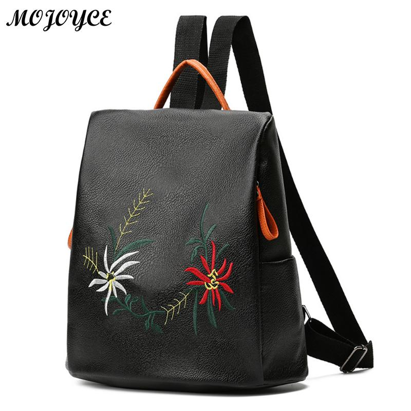 73c0af84617a Fashion Floral PU Leather Backpack Women Embroidery School Bag For Teenage  Girls Brand Ladies Small Backpacks Gray Sac A Dos