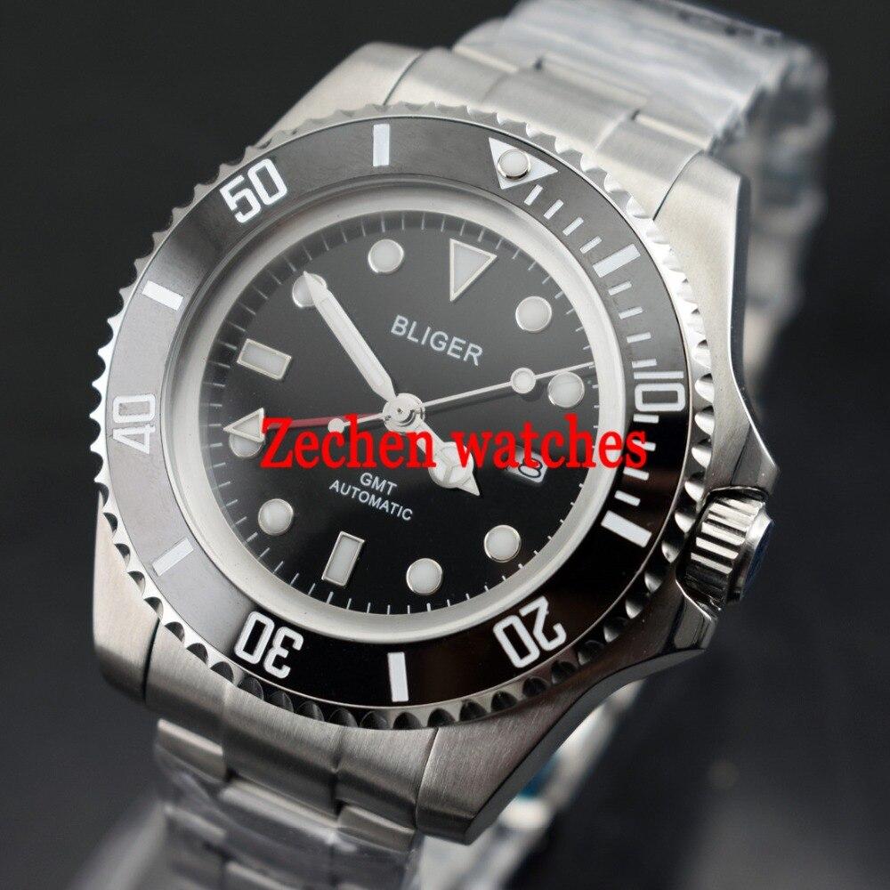 43mm Bliger GMT Automatic Mechanical Luminous hands S.S case Mens Steel Watch WristWatch цена и фото