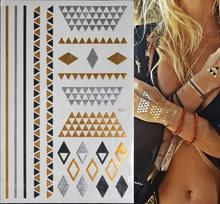 Temporary Metallic Tattoo Gold Silver Tattoos Body Art Summer Style Bracelet Choker Flash Tatto Henna Metalic Taty